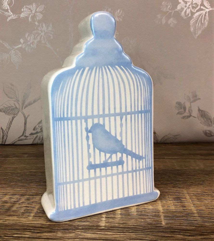 Cream Glazed Ceramic Birdcage Money Box - Blue
